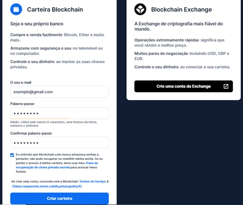 Carteira Blockchain registrar